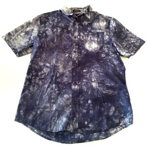 Carbon | Blue Tie Dye Button Down Shirt mens M